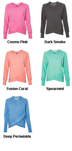 Womens Oasis Wash French Terry Criss Cross V-Neck Sweatshirt - All Colors