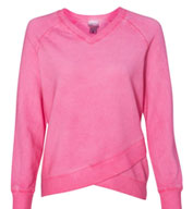 Womens Oasis Wash French Terry Criss Cross V-Neck Sweatshirt