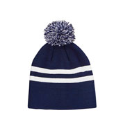 Custom Striped Beanie with Pom Pom