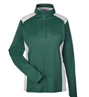 Custom Ladies Excel Melange Interlock Performance Quarter-Zip Top