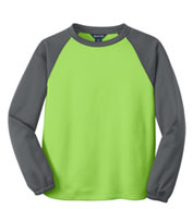 Sport-Tek® Youth Raglan Colorblock Fleece Crewneck