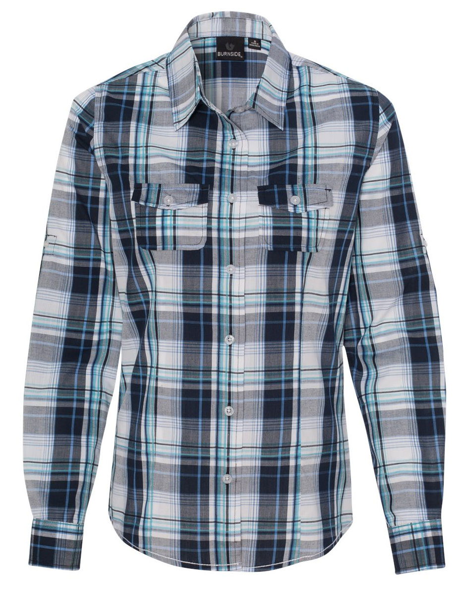 Burnside Womens Long Sleeve Plaid Shirt