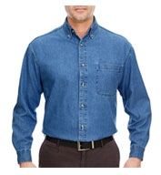 Custom UltraClub Mens Tall Cypress Denim Shirt