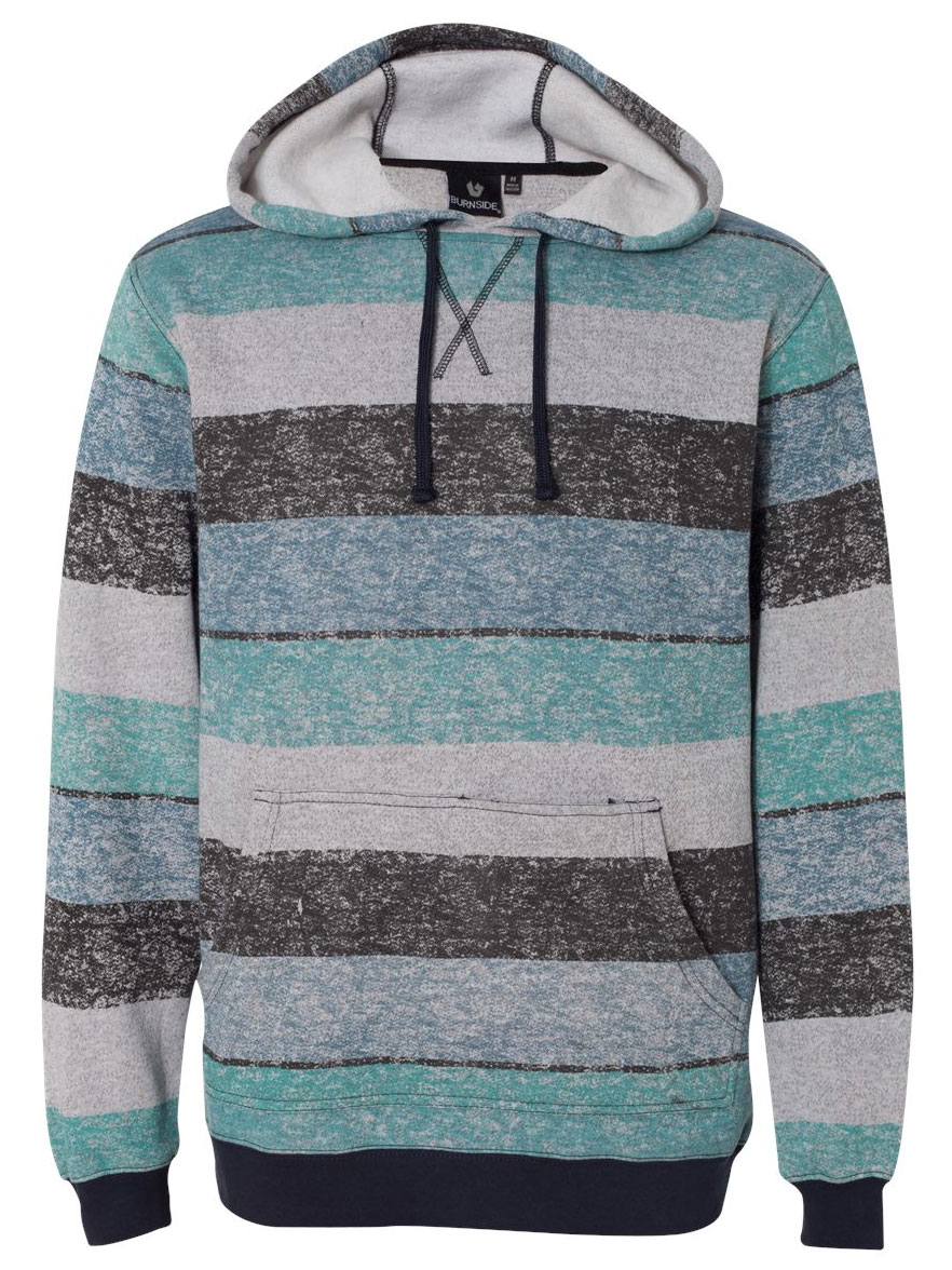 Mens Burnside Printed Striped Fleece