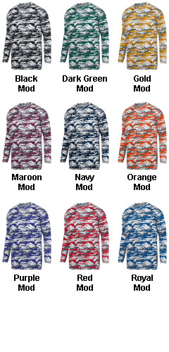 Youth Mod Camo Long Sleeve Wicking Tee - All Colors
