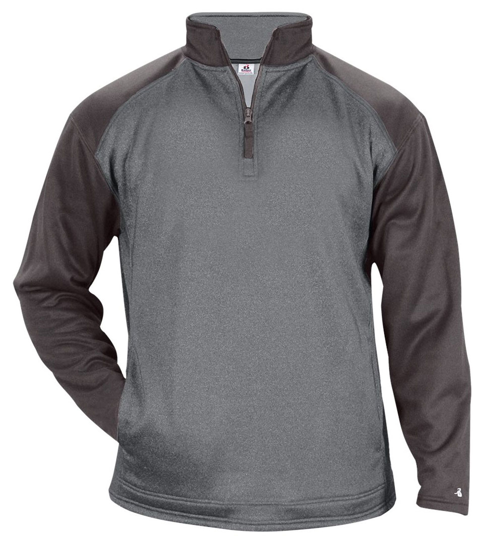 Badger Mens Sport Heather Tonal Fleece 1/4 Zip
