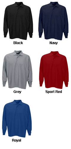 Vansport™ Omega Long Sleeve Solid Mesh Tech Polo - All Colors