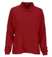 Womens Vansport™ Omega Long Sleeve Solid Mesh Tech Polo