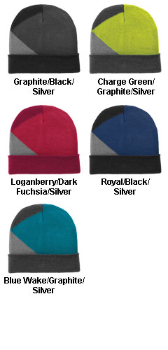 Port Authority Cuffed Colorblock Beanie  - All Colors
