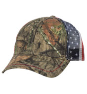 Custom Outdoor Cap American Flag Mesh Back Camo Cap