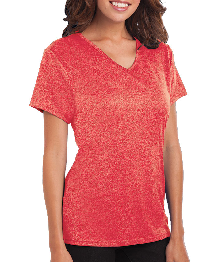 Ladies Heathered V-Neck Performance Tee
