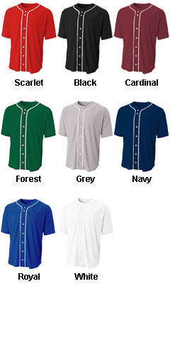 Adult Short Sleeve Full Button Baseball Top - All Colors