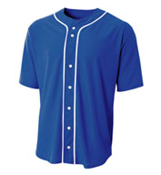 Custom Youth Full Button Stretch Mesh Baseball Jersey