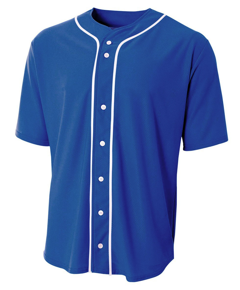 A4 Youth Full Button Stretch Mesh Baseball Jersey