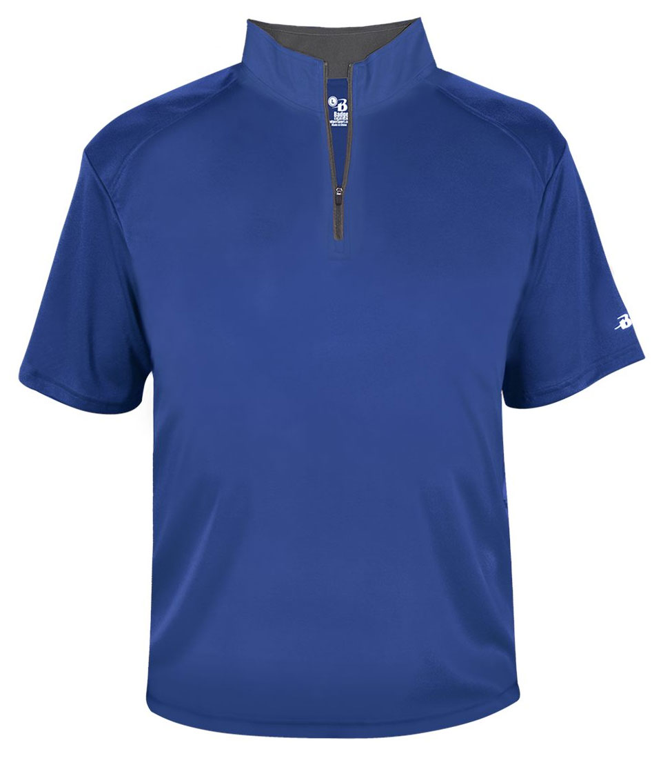 Badger Mens B-Core Short Sleeve 1/4 Zip Pullover