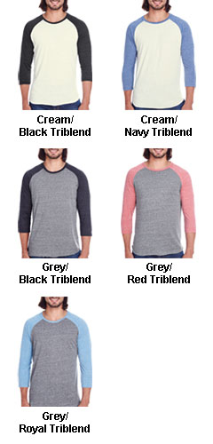 Threadfast Apparel Mens Triblend 3/4 Sleeve Raglan - All Colors