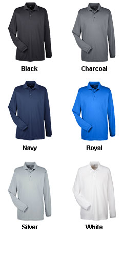 UltraClub Mens Cool and Dry Long Sleeve Mesh Pique Polo - All Colors