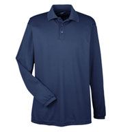 UltraClub Mens Cool and Dry Long Sleeve Mesh Pique Polo
