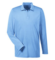 Custom UltraClub Mens Cool & Dry Heathered Performance Quarter-Zip
