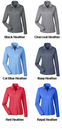 Ladies Cool & Dry Heathered Performance Quarter-Zip - All Colors