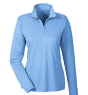 Custom UltraClub Ladies Cool & Dry Heathered Performance Quarter-Zip