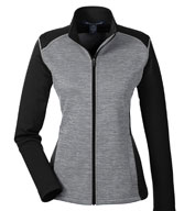 Custom Devon & Jones Ladies Newbury Colorblock Melange Fleece Full Zip