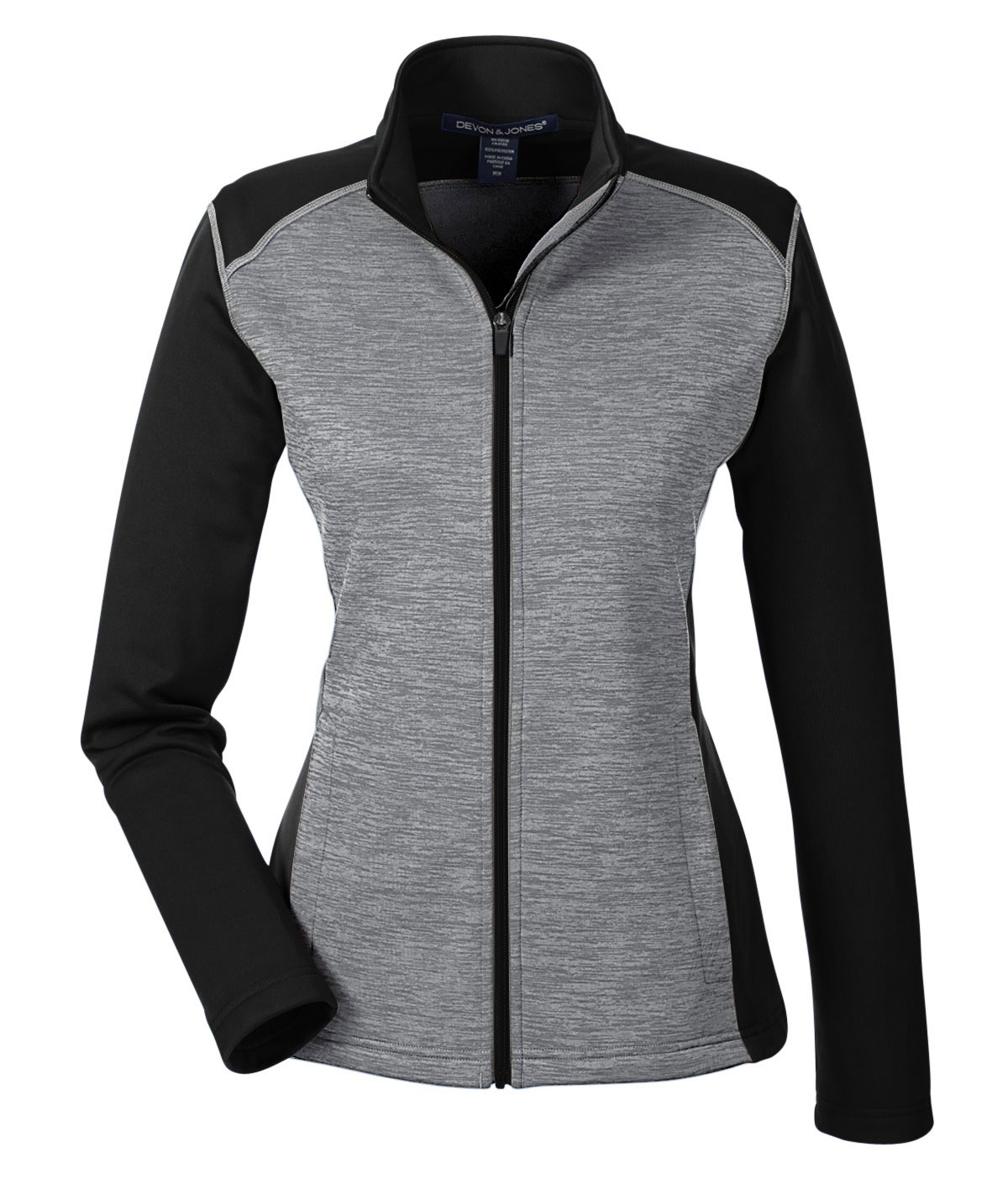Devon & Jones Ladies Newbury Colorblock Melange Fleece Full Zip