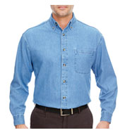 UltraClub Mens Long Sleeve Denim Shirt