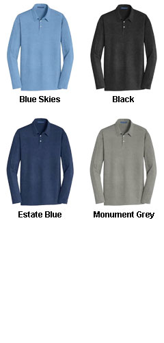 Mens Long Sleeve Meridian Cotton Blend Polo - All Colors