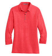 Custom Ladies 3/4 Sleeve Meridian Cotton Blend Polo