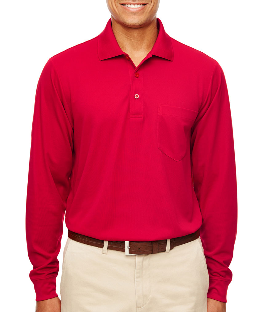 Core 365 Adult Pinnacle Performance Long-Sleeve Pocket Polo