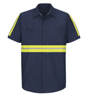 Custom Mens Enhanced Visibility Red Kap Industrial Work Shirt