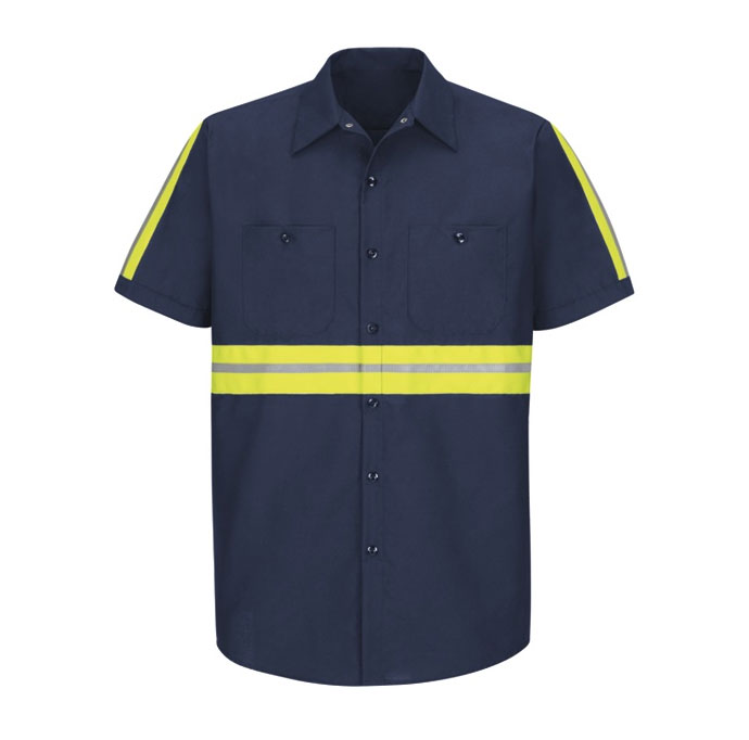 Mens Enhanced Visibility Red Kap Industrial Work Shirt