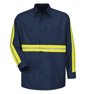 Custom Mens Enhanced Visibility Red Kap L/S Industrial Work Shirt