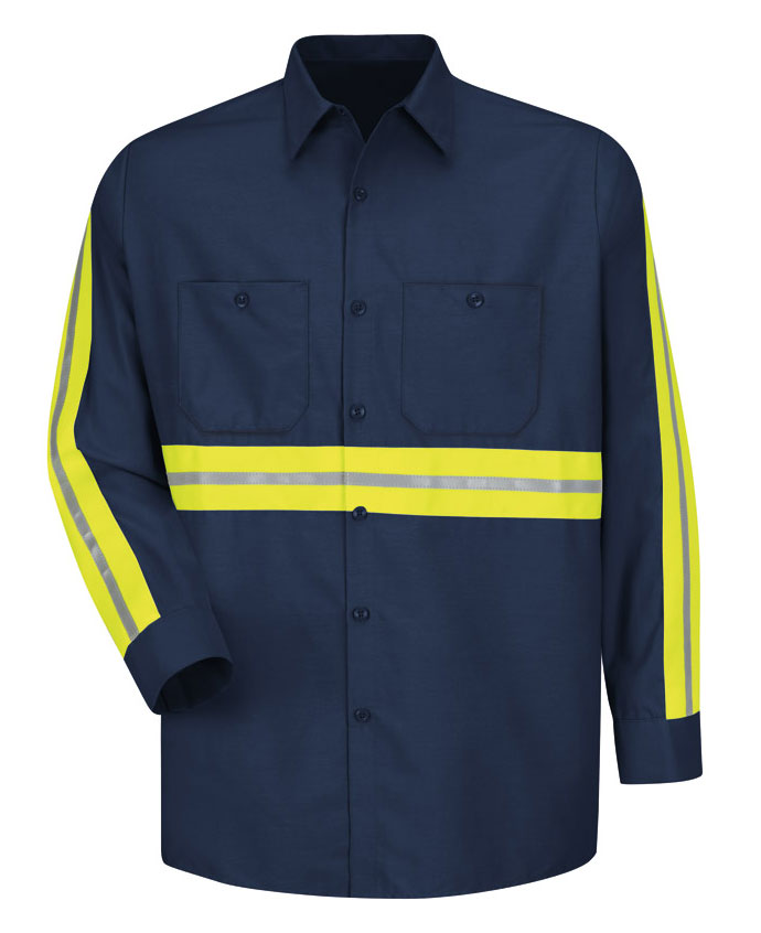 Red Kap Mens Enhanced Visibility L/S Industrial Work Shirt