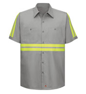 Custom Red Kap Mens Enhanced Visibility S/S Cotton Work Shirt