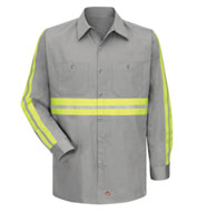 Custom Red Kap Mens Enhanced Visibility L/S Cotton Work Shirt