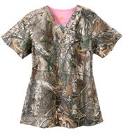 Custom Carhartt Medical Ladies Realtree Print V-Neck Top