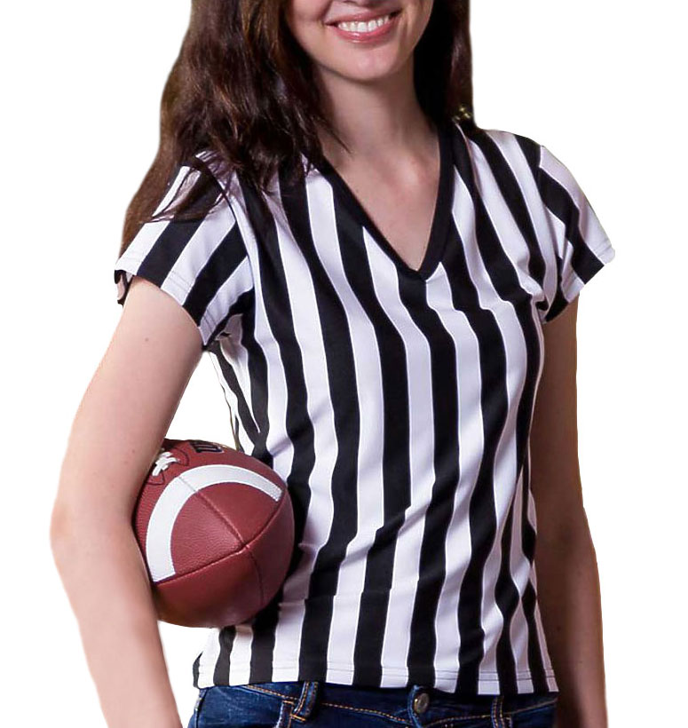 In Your Face Juniors V Neck Fashion Referee Shirt