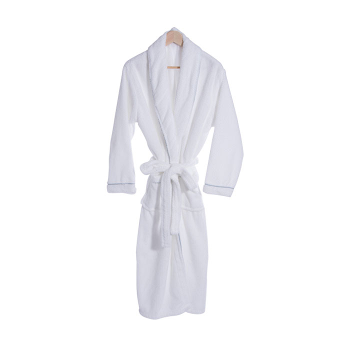 Adult Coral Plush Robe with Trim