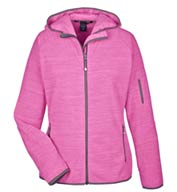 Custom Devon & Jones Ladies Perfect Fit™ Mélange Velvet Fleece Hooded Full-Zip  Jacket