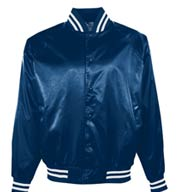 Custom Adult Satin Baseball Jacket/Striped Trim