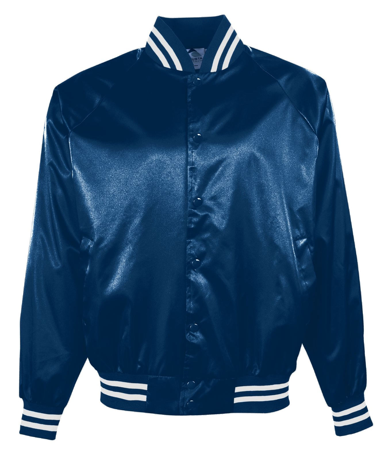 Adult Satin Baseball Jacket/Striped Trim
