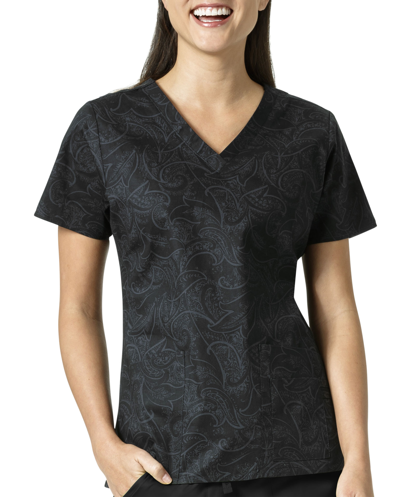 Ladies Sketch Scroll Black  V-Neck Print Top by Vera Bradley