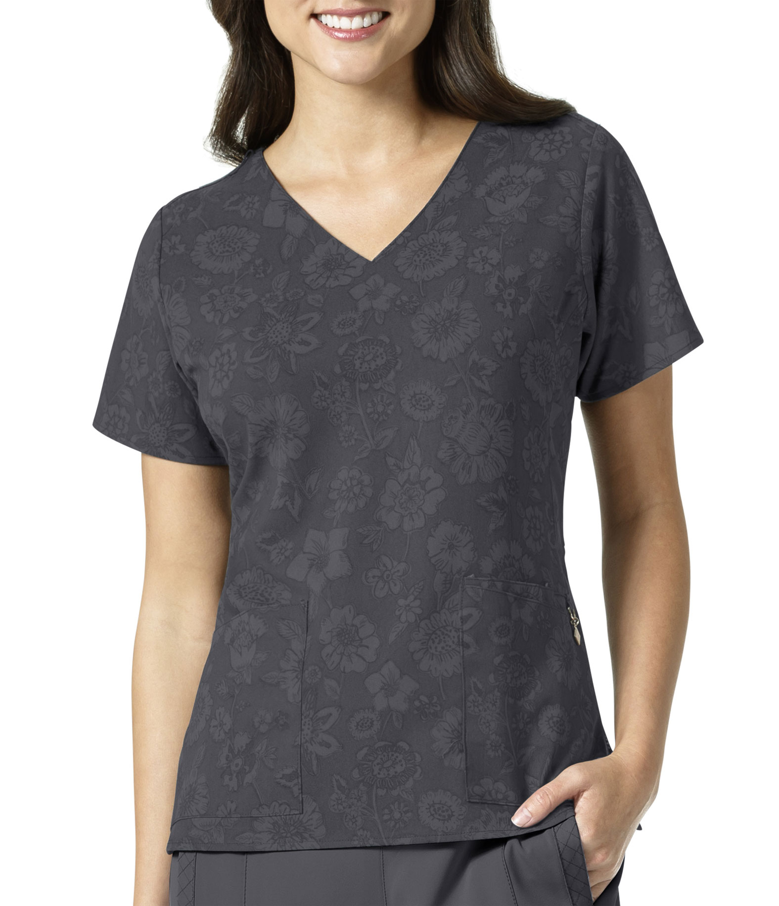 Pewter Floral Ladies V-Neck by Vera Bradley