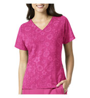 Custom Pink Floral Ladies V-Neck Top by Vera Bradley
