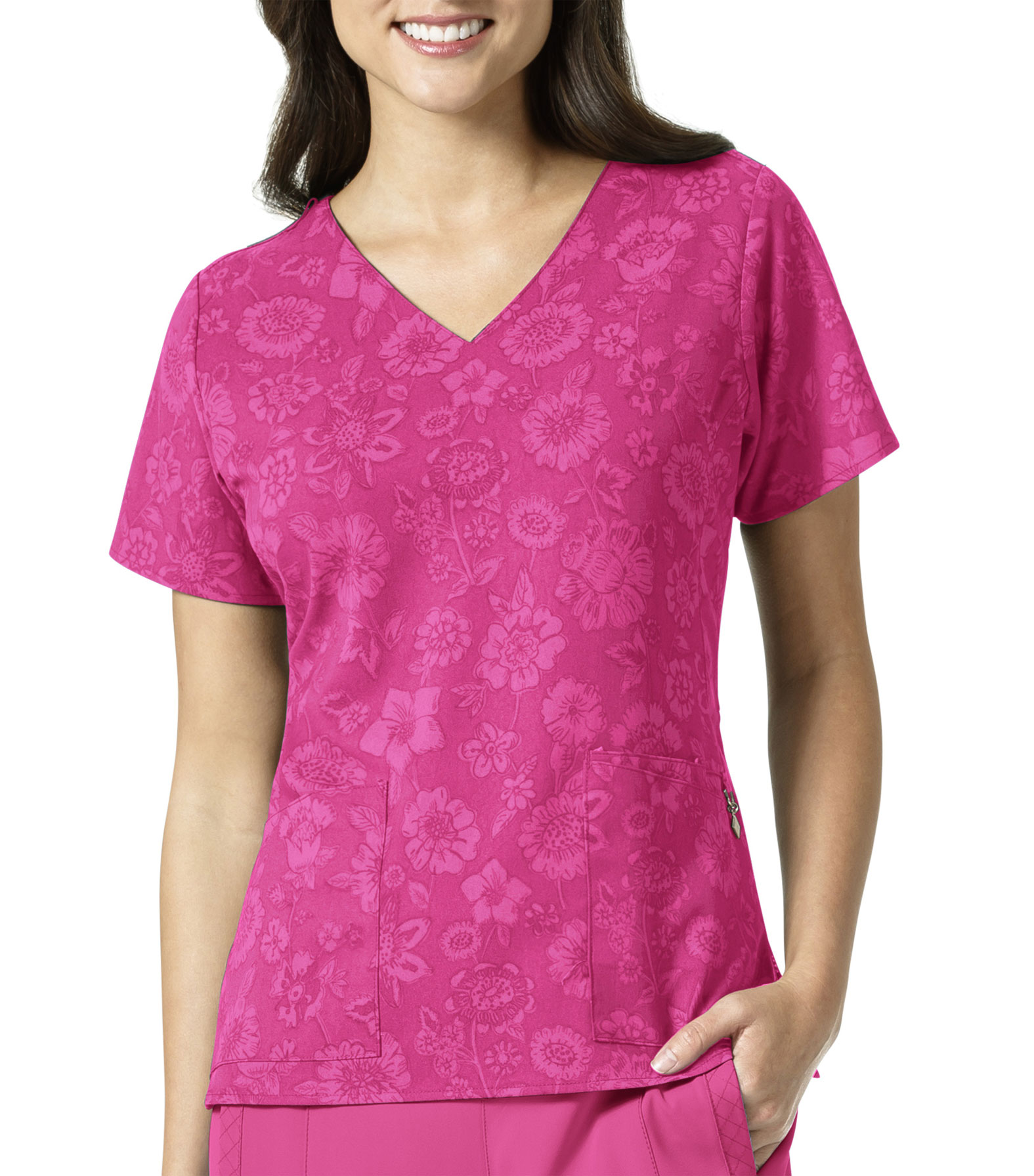 Pink Floral Ladies V-Neck Top by Vera Bradley