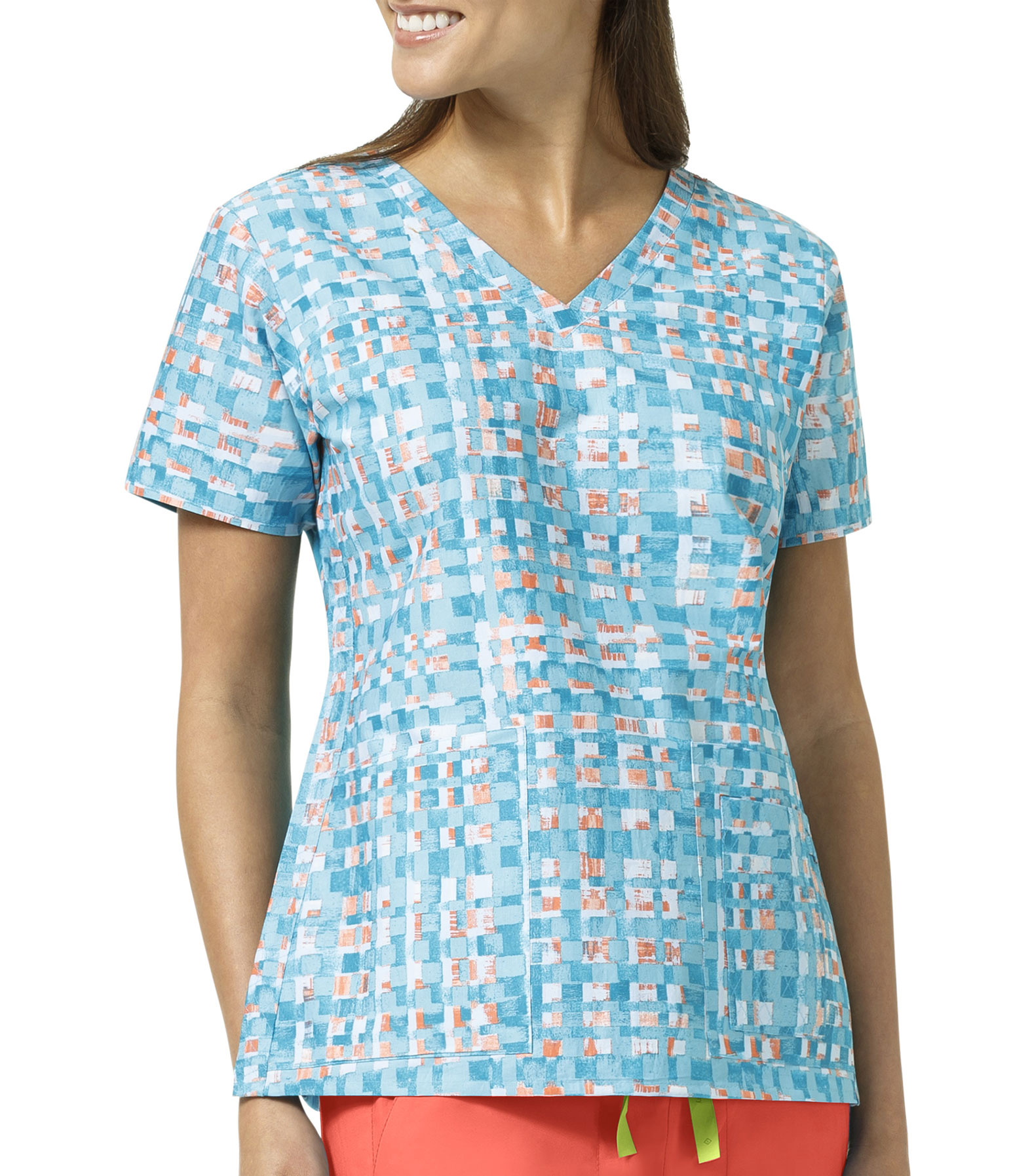 Abstract Blocks Ladies V-Neck Print Top By Vera Bradley