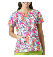 Custom Autumn Leaves Notch Neck Print Ladies Top By Vera Bradley