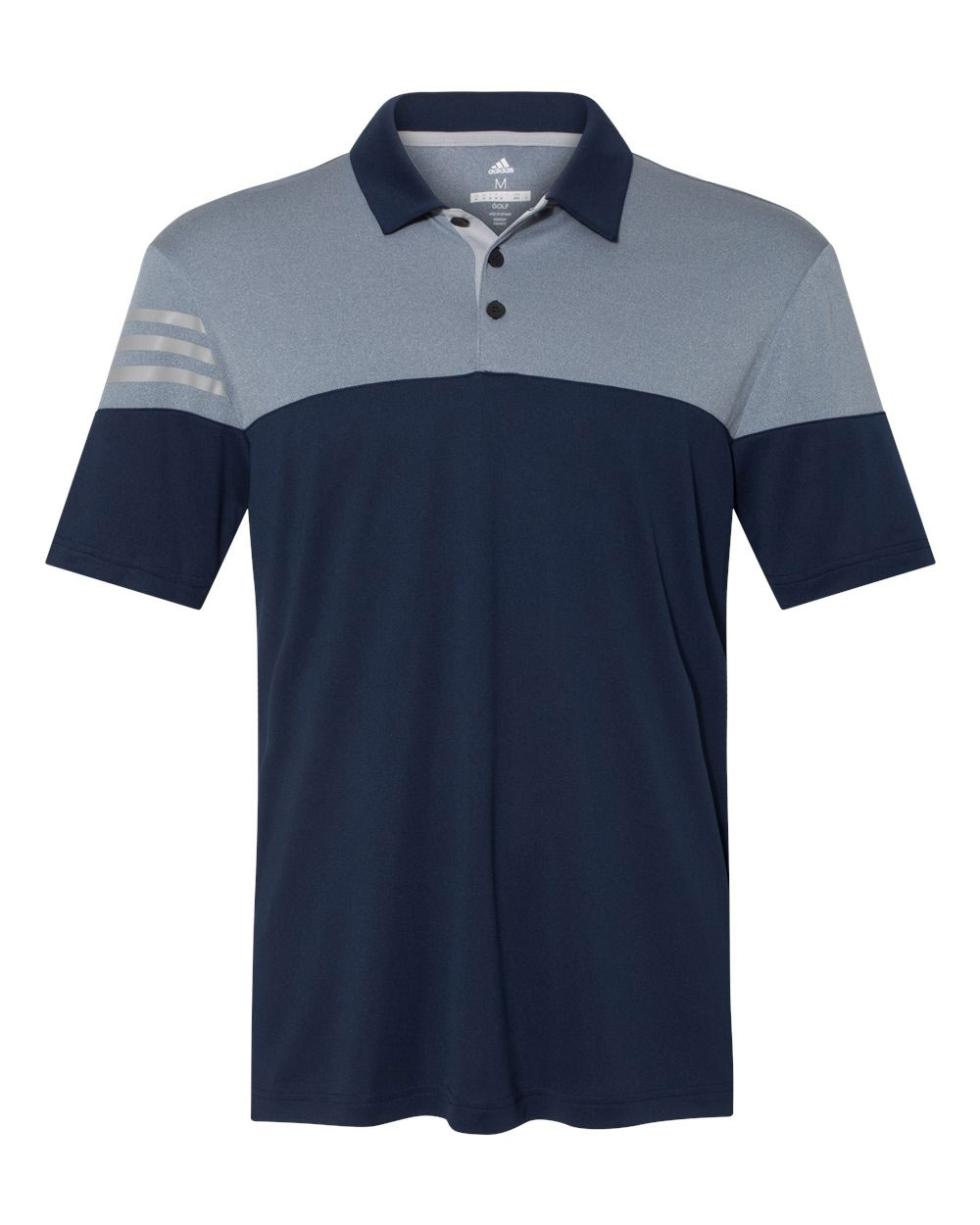 Adidas Golf 3-Stripes Heather Block Mens Polo